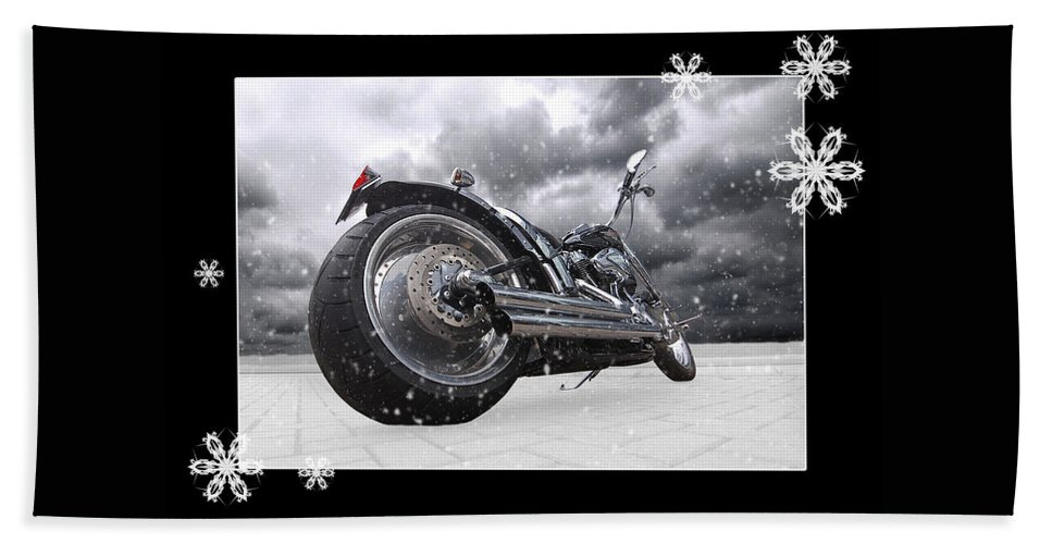 Harley Davidson Motorcycle Hand Towel featuring the photograph Festive Storming Harley by Gill Billington
