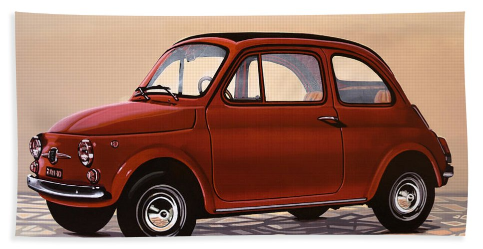 Fiat 500 Bath Towel featuring the painting Fiat 500 1957 Painting by Paul Meijering