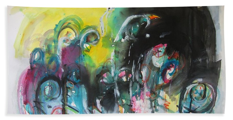Fiddleheads Painting Bath Sheet featuring the painting Fiddleheads 105- Original Abstract Colorful Landscape Painting For Sale Red Blue Green by Seon-Jeong Kim