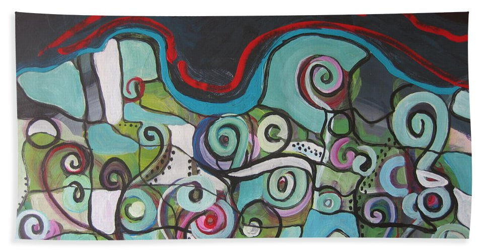 Fiddleheads Paintings Bath Towel featuring the painting Fiddleheads 5 by Seon-Jeong Kim