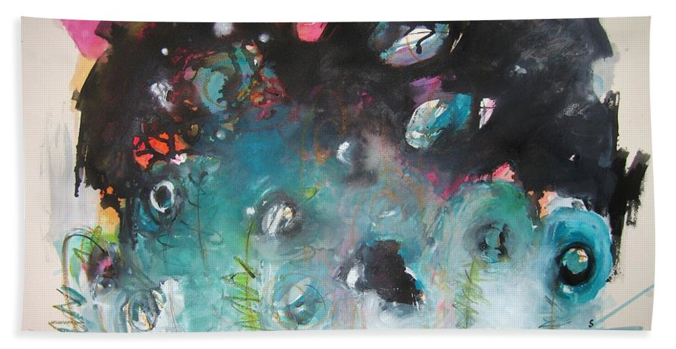 Fiddleheads Paintings Hand Towel featuring the painting Fiddleheads- Original Abstract Colorful Landscape Painting For Sale Red Blue Green by Seon-Jeong Kim