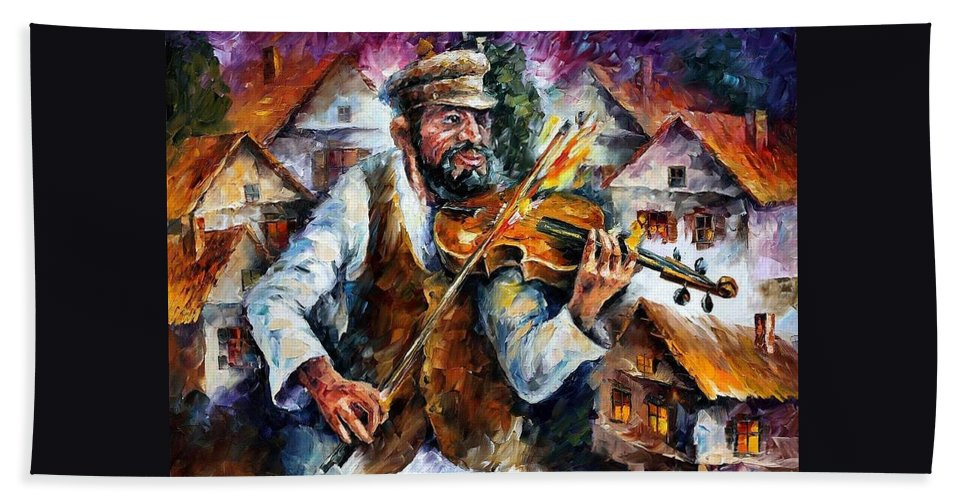 Judiac Hand Towel featuring the painting Fiddler From The Sky by Leonid Afremov