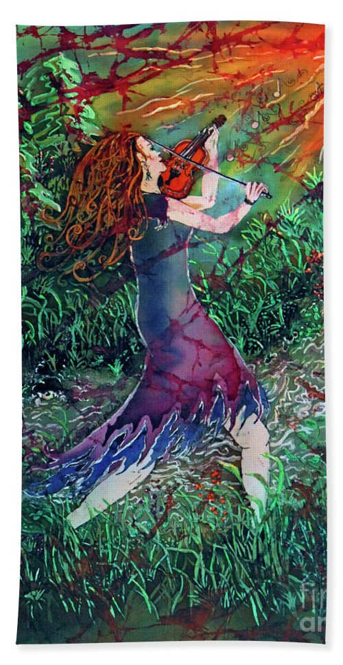 Fiddler Hand Towel featuring the painting Fiddler Of The Forest 2 by Sue Duda