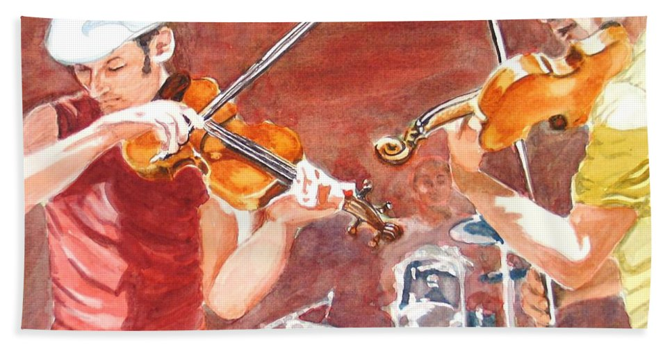 Musicians Hand Towel featuring the painting Fiddles by Karen Ilari