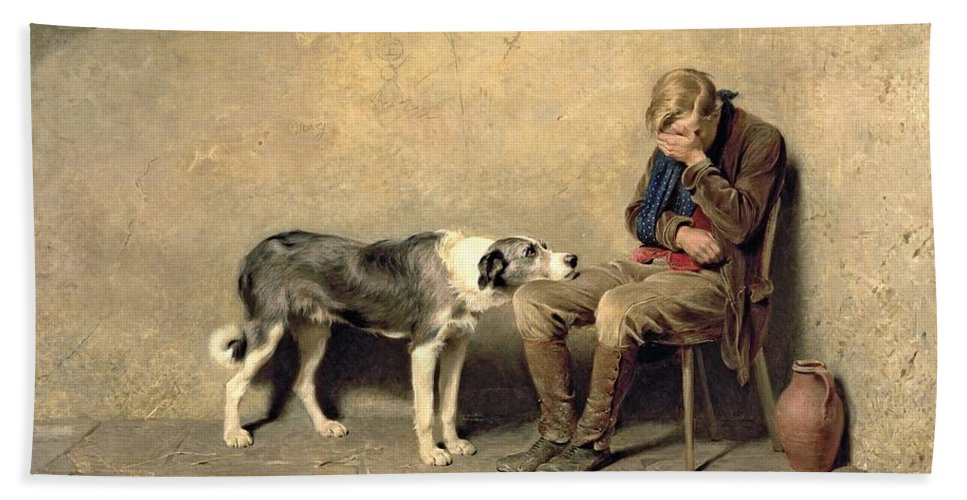 Fidelity Hand Towel featuring the painting Fidelity by Briton Riviere