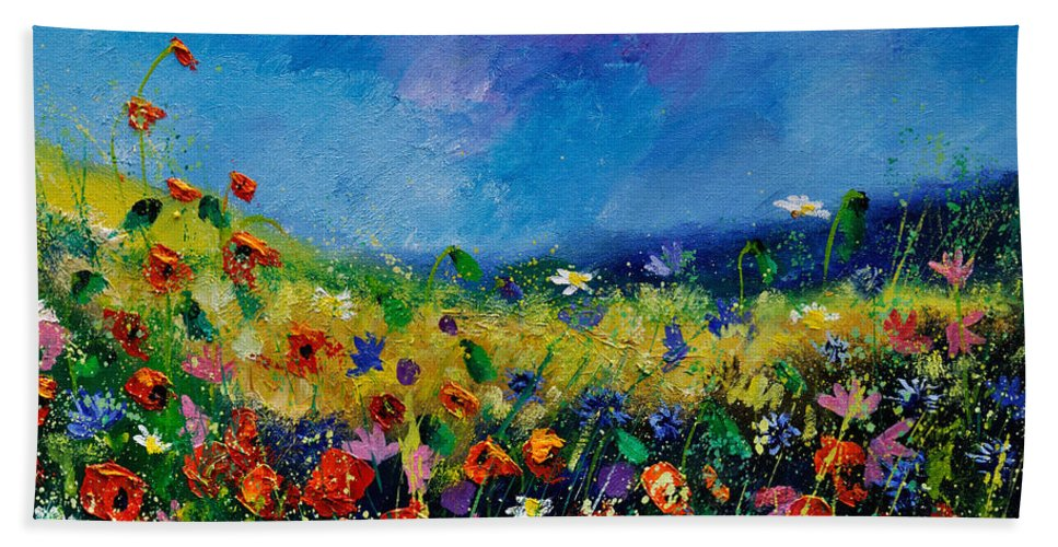 Landscape Hand Towel featuring the painting Field Flowers 561190 by Pol Ledent