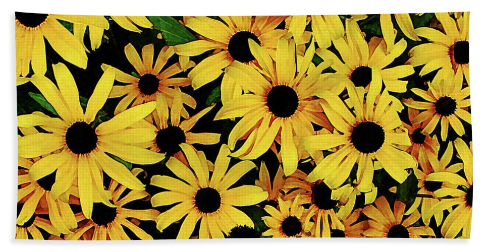 Garden Bath Sheet featuring the photograph Field Of Black-eyed Susans by Susan Savad