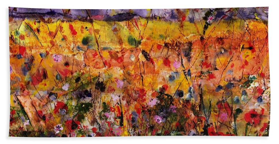 Flowers Bath Towel featuring the painting Field Of Dreams by Frances Marino