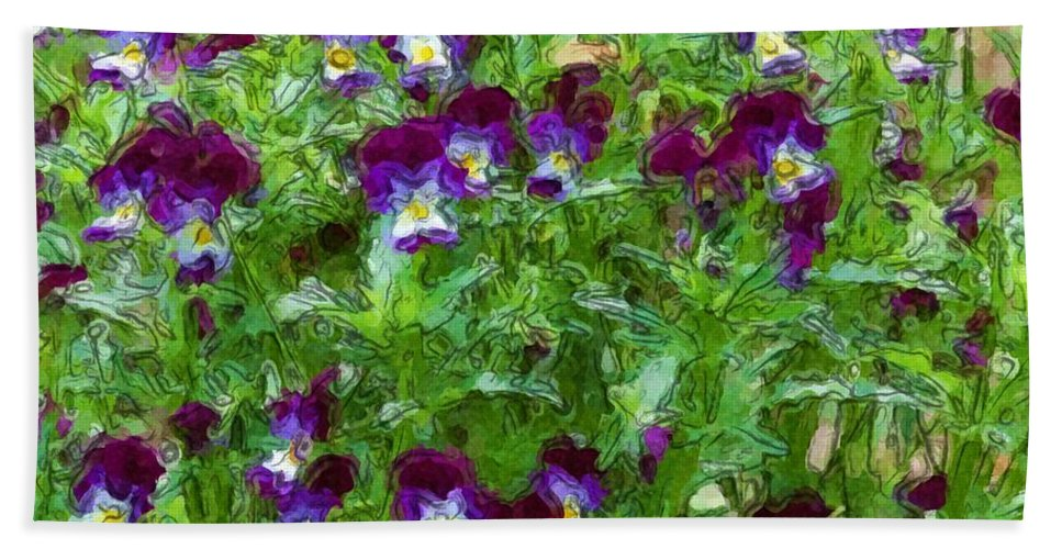 Digital Photograph Bath Towel featuring the photograph Field Of Pansy's by David Lane