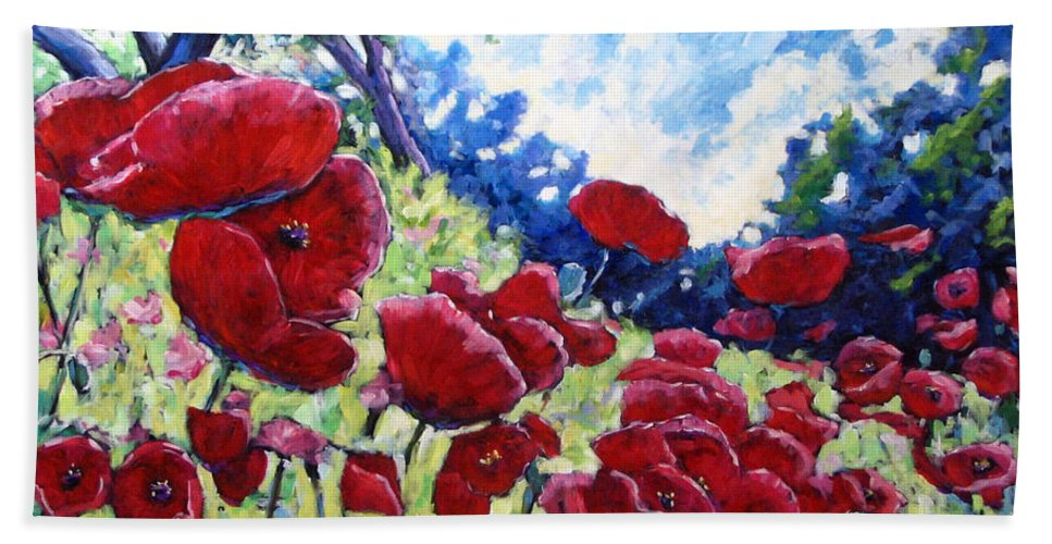 Poppies Hand Towel featuring the painting Field Of Poppies 02 by Richard T Pranke