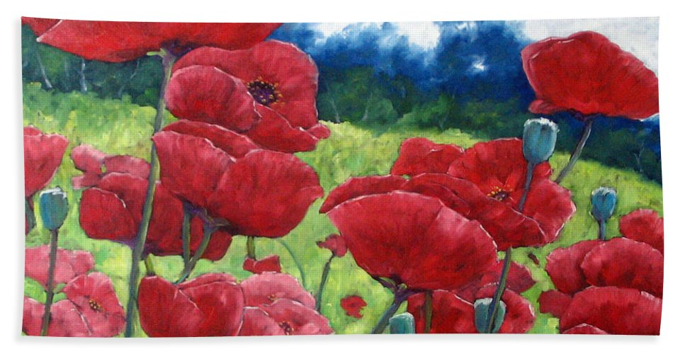 Poppies Bath Towel featuring the painting Field Of Poppies by Richard T Pranke