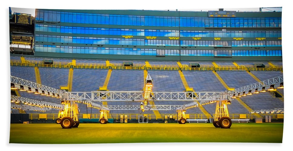 Grass Turf Grow Lights At Lambeau Field Bath Sheet featuring the photograph Field View Of Lambeau by Stephanie Forrer-Harbridge