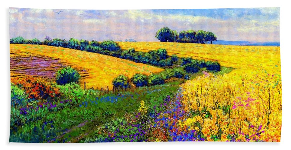 Sun Hand Towel featuring the painting Fields Of Gold by Jane Small