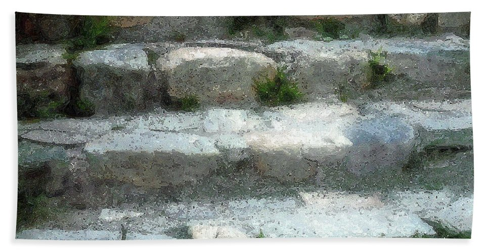 Connecticut Hand Towel featuring the digital art Fieldstone Stairs New England by RC DeWinter