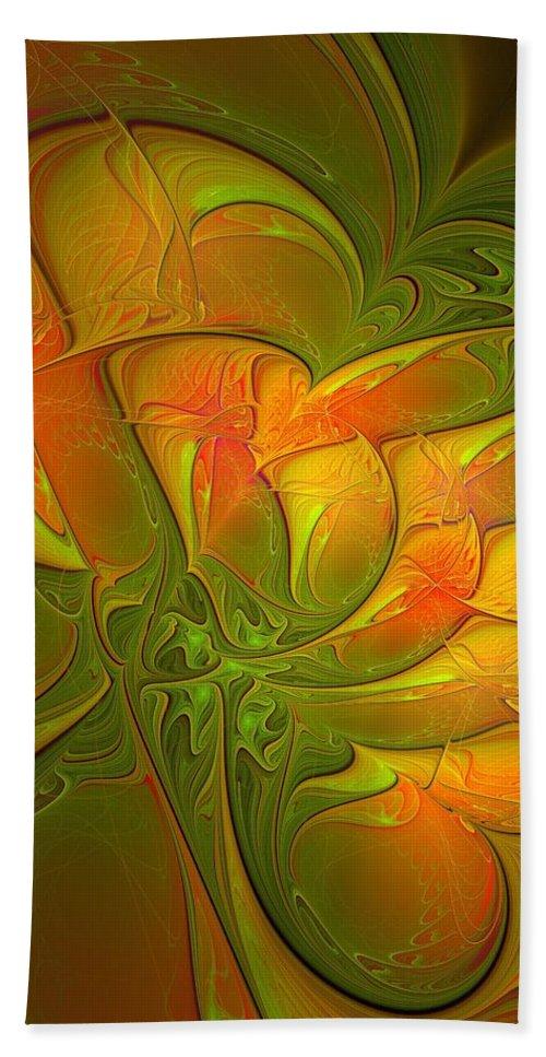 Digital Art Bath Towel featuring the digital art Fiery Glow by Amanda Moore
