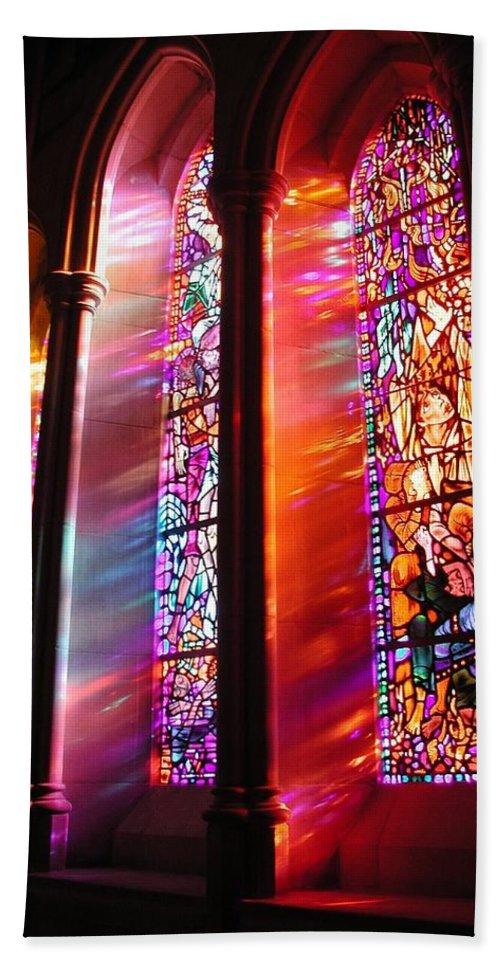 Church Bath Sheet featuring the photograph Fiery Light 1 by Tom Reynen