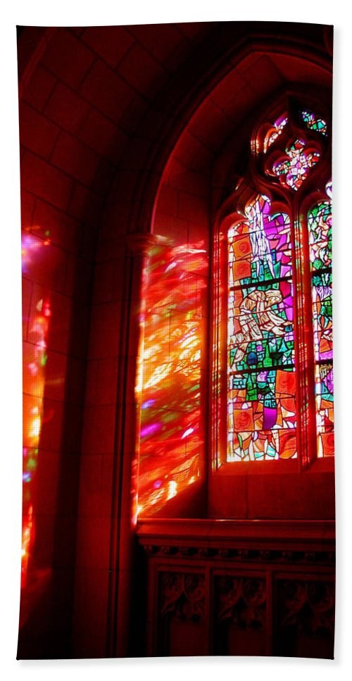Stained Glass Hand Towel featuring the photograph Fiery Light 2 by Tom Reynen