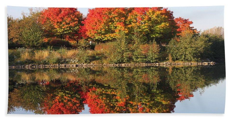 Fall Bath Sheet featuring the photograph Fiery Reflections by Lauri Novak