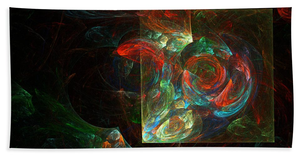 Abstract Hand Towel featuring the digital art Fiesta by Brainwave Pictures