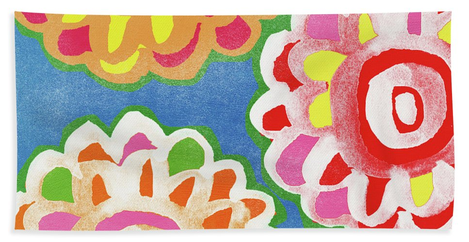 Flowers Bath Towel featuring the mixed media Fiesta Floral 3- Art by Linda Woods by Linda Woods