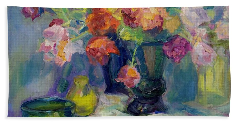 Flowers Hand Towel featuring the painting Fiesta Of Flowers - Vibrant Original Impressionist Oil Painting by Quin Sweetman