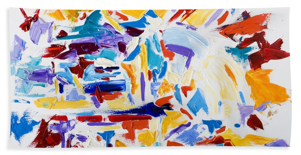 Abstract Yellow Bath Towel featuring the painting Fiesta by Shannon Grissom
