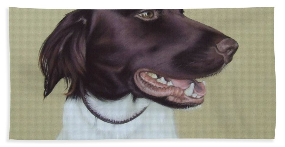 Dog Hand Towel featuring the pastel Fiete by Nicole Zeug