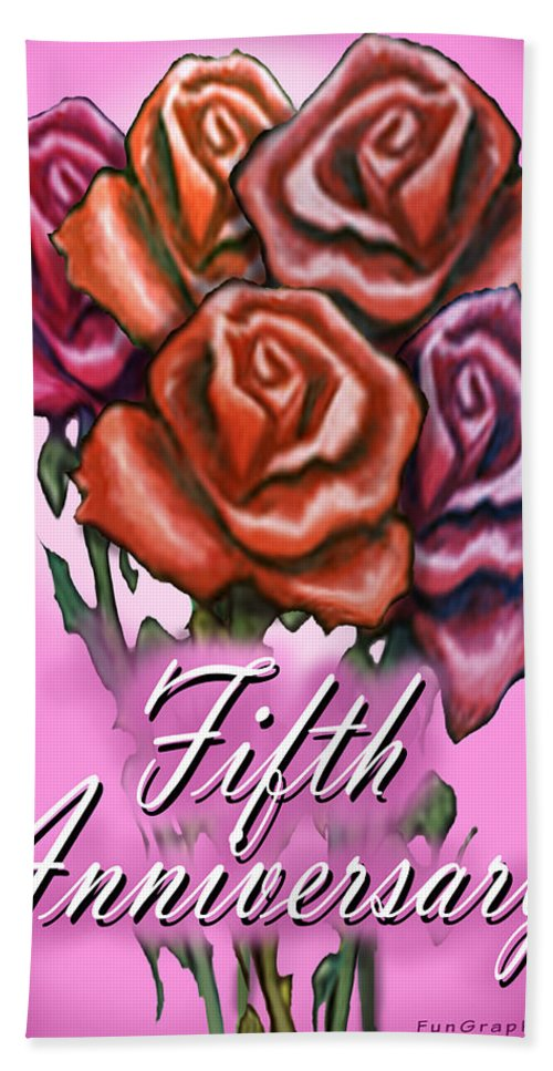 Fifth Bath Sheet featuring the greeting card Fifth Anniversary by Kevin Middleton