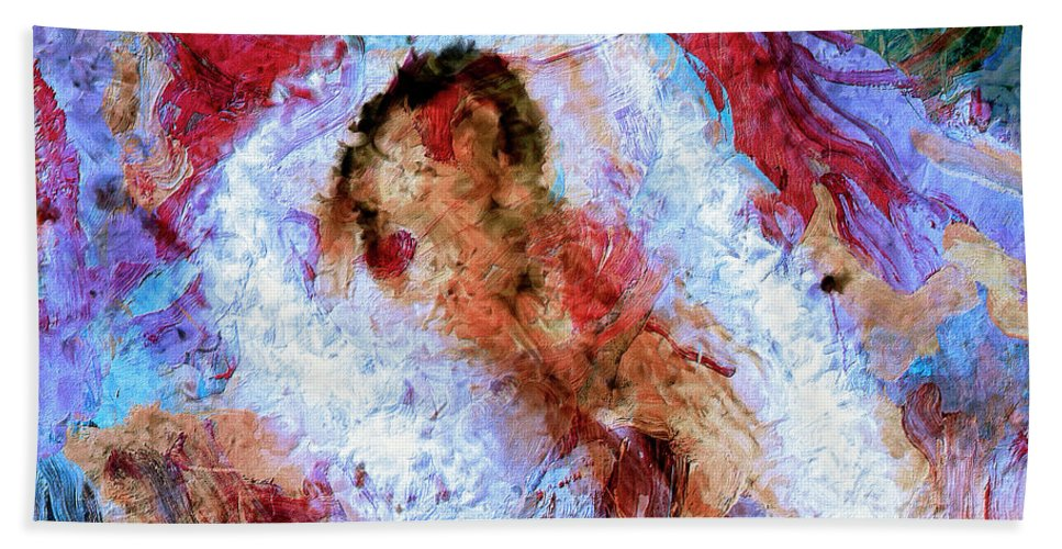 Abstract Hand Towel featuring the painting Fifth Bardo by Dominic Piperata