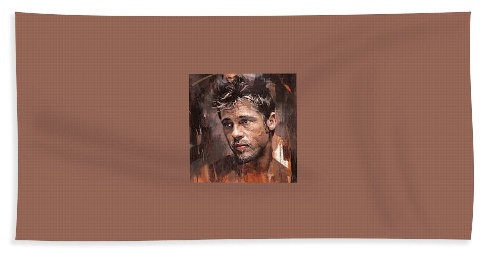 Hand Towel featuring the painting Fight Club by Juan Pereira