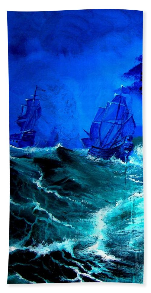 Seascape Bath Towel featuring the painting Fight For Life by Glory Fraulein Wolfe