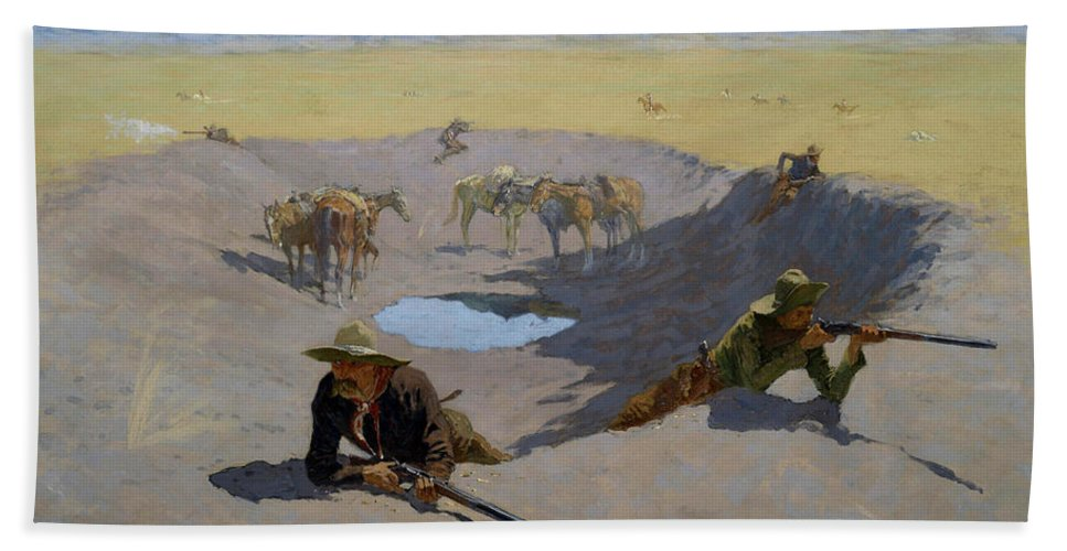 Gun Fight Bath Sheet featuring the painting Fight For The Waterhole by Frederic Sackrider Remington