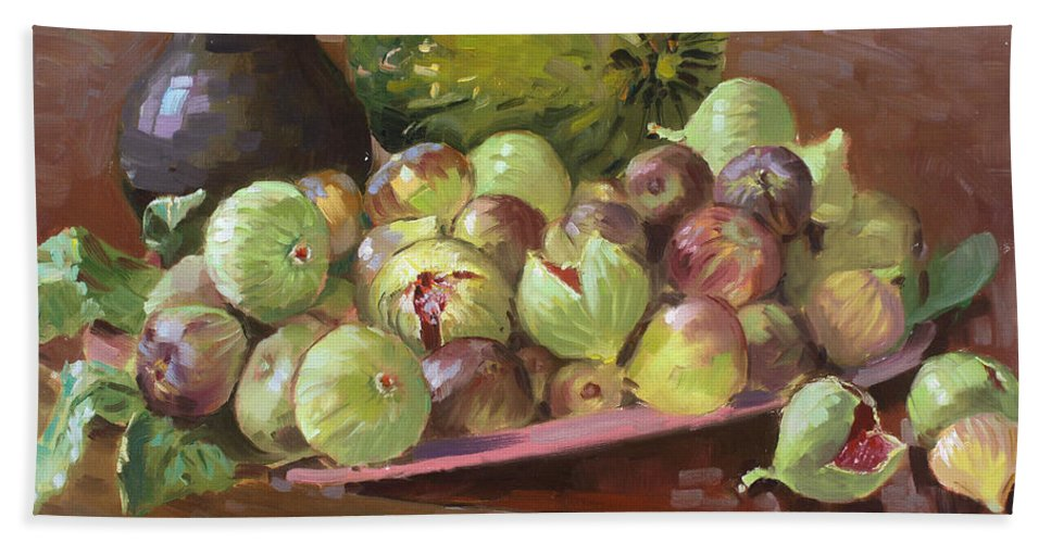 Figs Bath Sheet featuring the painting Figs And Cantaloupe by Ylli Haruni