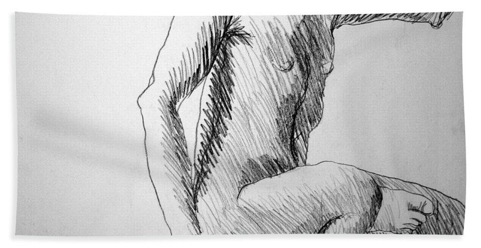 Figure Bath Sheet featuring the drawing Figure Drawing 3 by Nancy Mueller