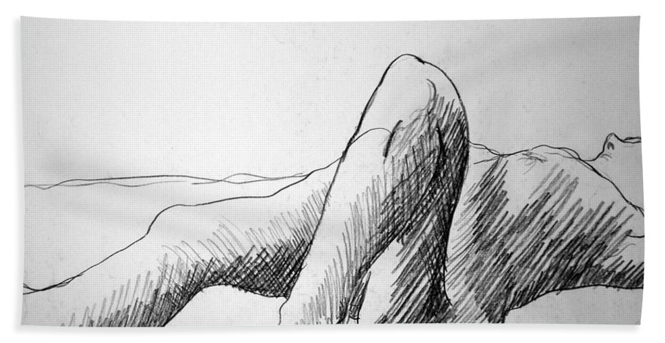 Figure Bath Towel featuring the drawing Figure Drawing 4 by Nancy Mueller