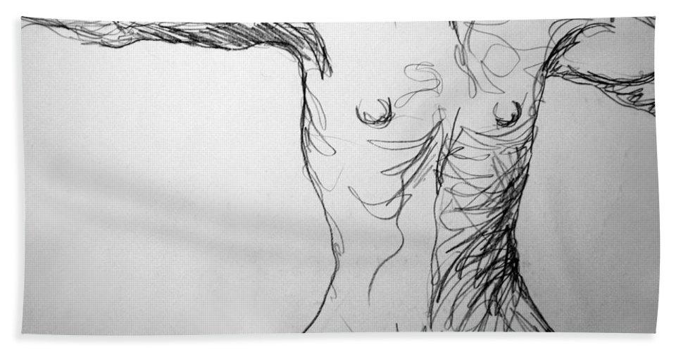 Figure Bath Sheet featuring the drawing Figure Drawing 5 by Nancy Mueller