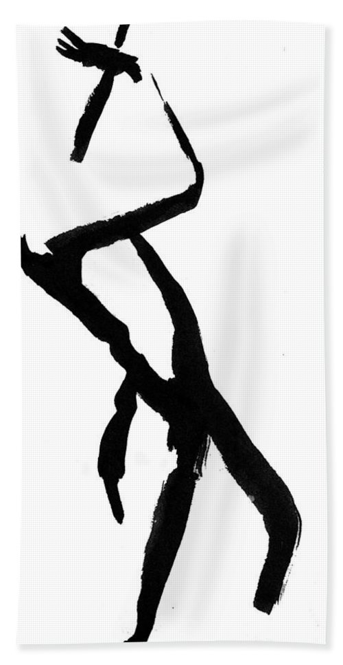 Silhouette Hand Towel featuring the drawing Figure Silhouette by Nancy Mueller