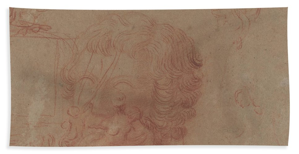 Hand Towel featuring the drawing Figure Sketches And A Copy After A Sculpted Head [verso] by Antoine Watteau