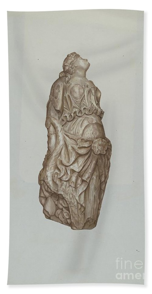 Hand Towel featuring the drawing Figurehead by Flora Merchant