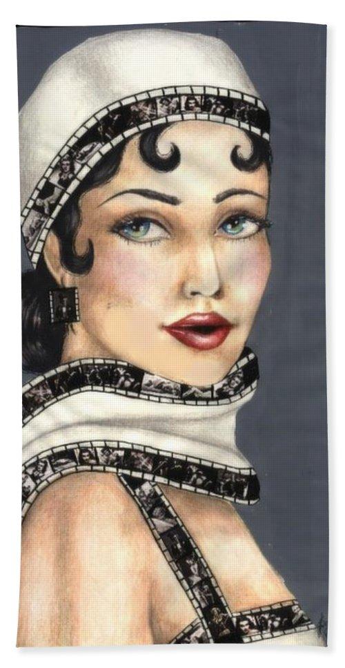 Portrait Bath Towel featuring the drawing Film 2 by Scarlett Royal