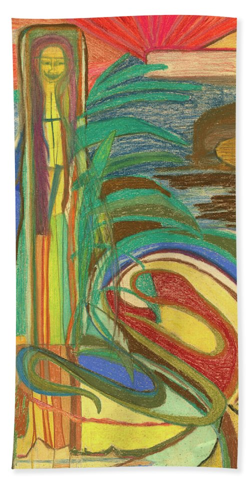 Abstract Bath Sheet featuring the pastel Filthy Riches by Diane Morrison
