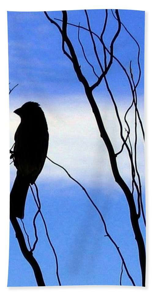 Finch Bath Towel featuring the photograph Finch Silhouette 2 by Will Borden