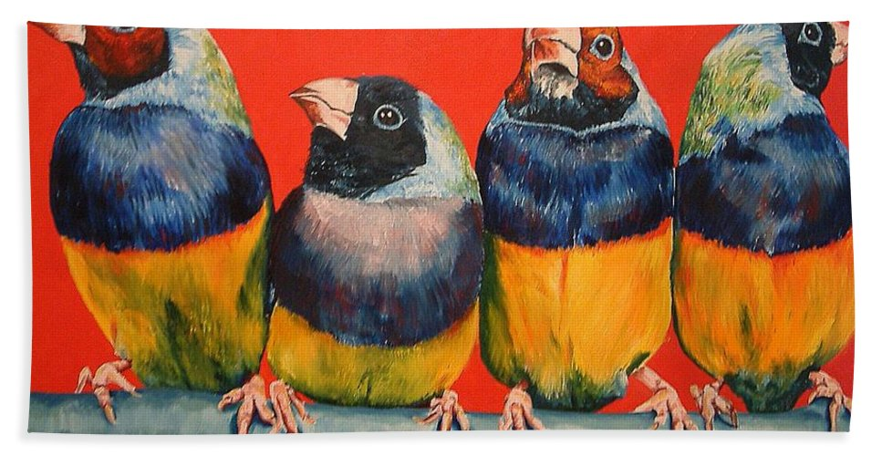 Birds Bath Sheet featuring the painting Finches by Debbie Sampson