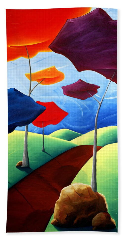Landscape Bath Towel featuring the painting Finding Your Way by Richard Hoedl