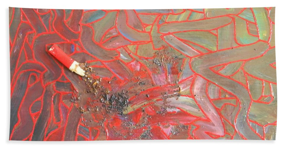 Finger Painting Bath Sheet featuring the painting Finger Painting by Marwan George Khoury