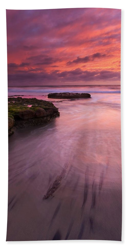 Sunset Hand Towel featuring the photograph Fingers Of The Tide by Mike Dawson