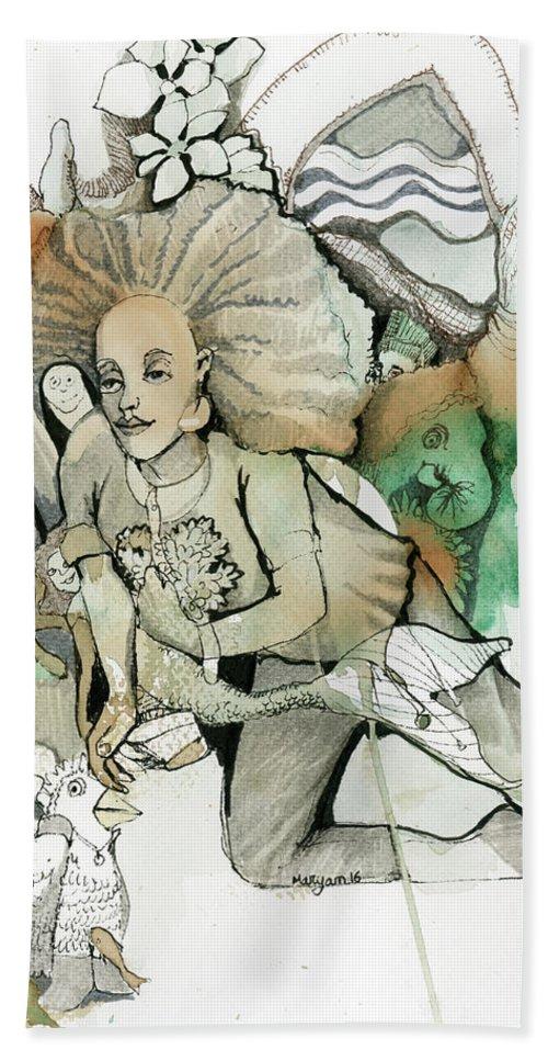 Race Bath Sheet featuring the painting Finishing Line by Maryam Hashemi