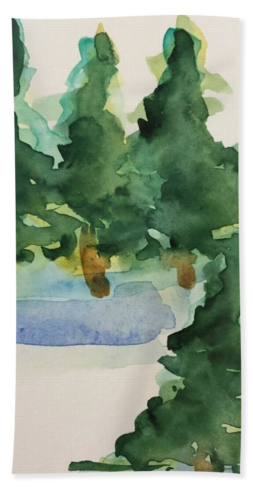 Nature Bath Sheet featuring the painting Fir Trees by Britta Zehm