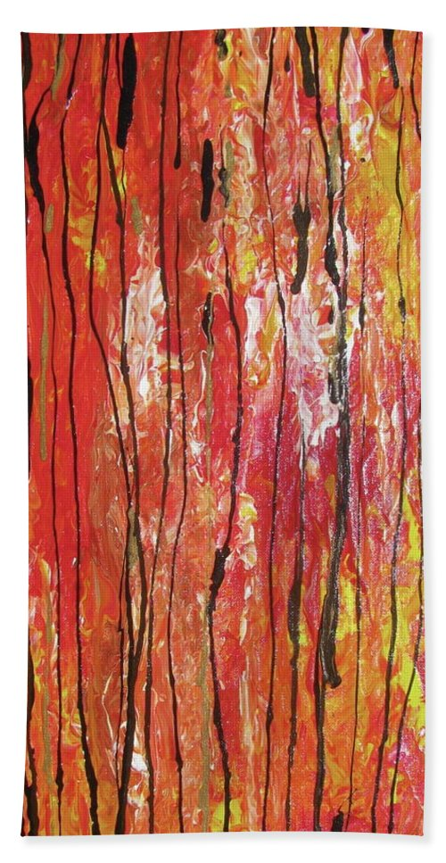 Abstract Hand Towel featuring the painting Fire - 1 by Jacqueline Athmann