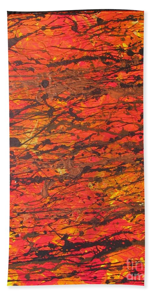 Abstract Hand Towel featuring the painting Fire 2 by Jacqueline Athmann